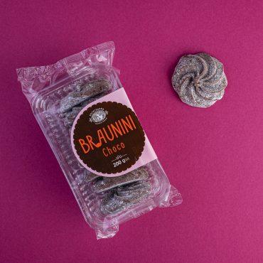 """""""BRAUNINI Choco"""" Печиво Брауніні зі смаком шоколаду в цукровій пудрі ТМ Богуславна 200 г"""